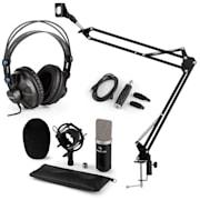 CM003 mikrofónová sada V3, kondenzátorový mikrofón, USB-konvertor, slúchadlá, čierna farba