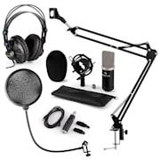 CM003 MIKROFONNÍ SADA V4, ČERNÁ, kondenzátorové mikrofony, USB PŘEVODNÍK, SLUCHÁTKA, mikrofonní rameno, POP FILTER