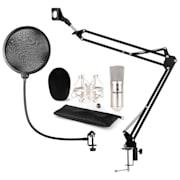auna CM001S mikrofon szett V4 kondenzátoros mikrofon, mikrofontartó kar, POP filter, ezüst