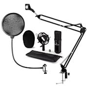 CM001B mikrofonski set V4, crni, XLR kondenzatorski mikrofon, nosač mikrofona, pop filter