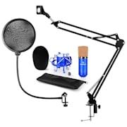 CM001BG V4, kék, mikrofon készlet, XLR kondenzátoros mikrofon, kar, POP szűrő