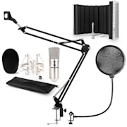 CM001S mikrofonní sada V5 kondenzátorový mikrofon, mikrofonní rameno, pop filtr, panel, stříbrná barva