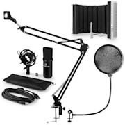 CM001B mikrofonní sada V5 kondenzátorový mikrofon, mikrofonní rameno, pop filtr, panel, černá barva