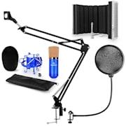 CM001BG mikrofonní sada V5 kondenzátorový mikrofon, mikrofonní rameno, pop filtr, mikrofonní panel