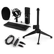 CM001B Microphone Set V1 Condenser Microphone USB Adapter Microphone Stand Black