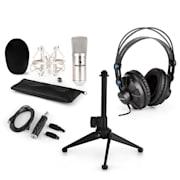 CM001S V1, mikrofonní sada, sluchátka + kondenzátorový mikrofon s USB adaptérem + stativ, stříbrná barva