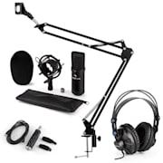 CM001B mikrofonní sada V3 sluchátka, kondenzátorový mikrofon, USB panel, mikrofonní rameno, černá barva
