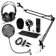 CM001B mikrofonní sada V4 sluchátka, kondenzátorový mikrofon, USB panel, mikrofonní rameno, pop filtr