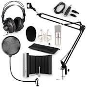 CM001S, mikrofon set V5, kondenzatorski mikrofon, slušalice, USB-konverter, nosač mikrofona, mikrofonski apsorpcijski panel, POP filter, srebrna boja