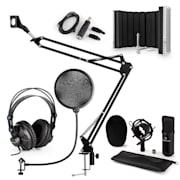CM001B mikrofonní sada V5 sluchátka, kondenzátorový mikrofon, panel, mikrofonní rameno, pop filtr, černá barva