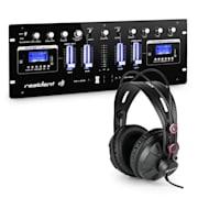 DJ405USB-BK, 4-канален DJ смесител вкл. студийни слушалки