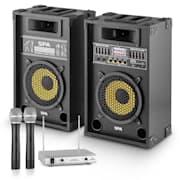 """""""Yellow Star 8"""" PA-party készlet, max. 600 W, PA rendszer, kétcsatornás auna VHF rádió mikrofon"""