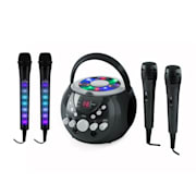 SingSing karaoke rendszer, fekete + Dazzl mikrofon szett, LED megvilágítás
