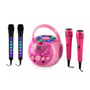 SingSing, розово + Dazzl Mic Set караоке устрйство, микрофон, LED осветление