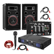 "DJ PA Set ""DJ-14"" BT, PA Amplifier, BT Mixer, 2 x Speakers, Karaoke Mic"