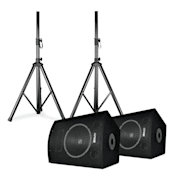 "SL10 Disco Boxes Pair with Tripods 10"" Woofer 250W max. 2x Tripod + Bag 10"" (25 cm) speaker pair with stands"