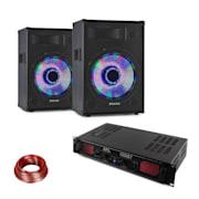 LED10BT, DJ PA szett, 2 x PA hangfal, Skytec HiFi erősítő, hangfal kábel