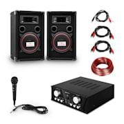 Easy DJ set Black PA sustav, PA pojačalo, par zvučnika, karaoke mikrofon, set priključnih kablova, 2 x 50 W max., crni
