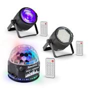 PLS10 zestaw, V4 Jellyball, stroboskop LED PLS15, projektor LED PLS30