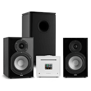 Unison Reference 802 Edition, stereo systém, zosilňovač, reproduktory, čierna/biela
