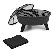 Nolana Fire Bowl Ø73cm | Ø64cm Grill Weather Protection Cover Steel Black