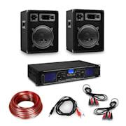 Amplificator HiFi și set de boxe format din 3 piese, amplificator digital, boxe și inclusiv cabluri   Amplificator 2x250 W speaker 400 W