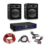 HiFi ojačevalnik in 3-delni komplet zvočnikov, digitalni ojačevalnik, zvočniki, vključno s kabli Ojačevalnik 2 x 250 W zvočnik 400 W