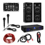 eStar, Hi-Fi DJ PA párty sada, zesilovač, reproduktory, mixážní pult, mikrofony, kabely