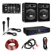 """Hi-Fi DJ PA párty sada, zesilovač, 2x 12"""" reproduktor, mixážní pult, 2 mikrofony Zesilovač 2x 350 W reproduktor 600 W"""