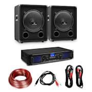 """HiFi erősítő & hangfal szett, 2 x 350 W erősítő, 2 x hangfal, 10"""", 400 W RMS 2x350 W erősítő 800 W hangszóró"""