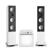 Drive 801, stereo set, stereo pojačalo, zvučnik tower, bijela/bijela
