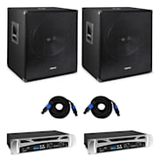 "Vonyx Bass Storm DJ PA-Set | PA-Verstärker: 2 x 500 Watt | 2 x passiver PA-Subwoofer: 15"" (38cm) / 600 Wmax. 