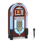 "Graceland Touch, jukebox, 12"" krmilna plošča na dotik, WLAN, CD, BT, mikrofon, lesen izgled"