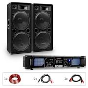 """Amplificador PW-2522 MKII PA set + 2 altavoces pasivos de 15"""" PA 750W RMS / 1500 Wmax. 3 vías"""