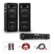 PW-65x22 MKII Set PA Amplificador + 2 altavoces pasivos + Juego de cables