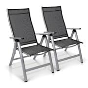 London chaise de jardin ensemble de 2 Textilène Aluminium 6 positions pliante Argent | 2 x Chaise