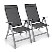 London Gartenstuhl 2er-Set Textilene Aluminium 6-Positionen klappbar Silber | 2 x Stuhl