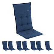Coburg Polsterauflage Sesselauflage Hochlehner Gartenstuhl Polyester 53x117x9cm Blau | 8er-Set
