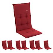 Coburg Polsterauflage Sesselauflage Hochlehner Gartenstuhl Polyester 53x117x9cm Rot | 8er-Set