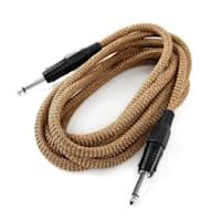6,35mm jack kabel, 3 m, černo-zlatá, sada tří kabelů, textilní izolace