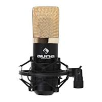 MIC-900BG-LED V1, USB микрофонен комлект, черно-златен кондензаторен микрофон + статив за маса