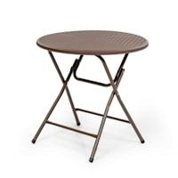 Burgos zona di seduta tavolo + 2 sedie pieghevoli in tubo d'acciaio HDPE aspetto rattan