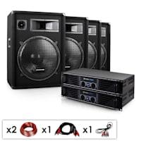 "DJ PA Komplettset ""Miami Quasar Pro"" 2x Verstärker 4x Boxen"