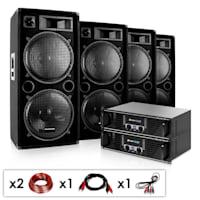 """DJ PA Komplettset """"Phuket Pulsar Pro"""" 2x PA-Verstärker mit je 1000W max. 4x PA-Lautsprecher mit je 1000W max. inklusive Kabelset"""
