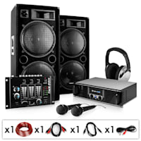"PA Anlage ""Block-Party"" Set aus PA-Verstärker 2000W max., PA-Lautsprecher 1000W max., Mikrofone und DJ-Mixer"