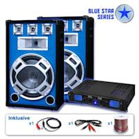 "PA Set Blue Star Series ""Beatstar"" PA-Verstärker 700W max., PA-Lautsprecher 800W max., inkl. Kabel"
