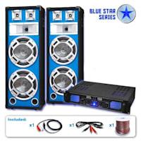 """Blue Star Series """"Bass Core"""" DJ PA Speaker System 1000 Watt"""