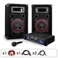 "DJ PA Set ""DJ-14"" PA-Verstärker 2x 250W max (4 Ohm)., 2x PA-Lautsprecher 2x 500W max., 1x dynamische Mikrofon, Kabelset"