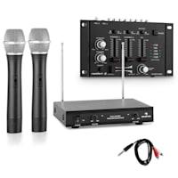 VHF-TMX-2211 Funkmikrofon-Set mit 3 Kanal DJ-Mixer schwarz