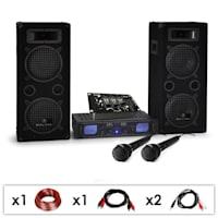 "DJ SET ""DJ-25M"" amplificatore casse mic mixer 1600W"